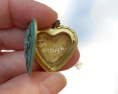 I am enough..  quote locket on brass chain or vintage pearls you choose