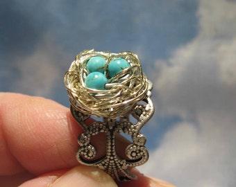 Enchanted Turquoise Fairy  birdnest ring on silver adjustable band