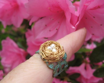 Enchanted Delicate Woodland Birdnest on Verdigris Filigree adjustable ring