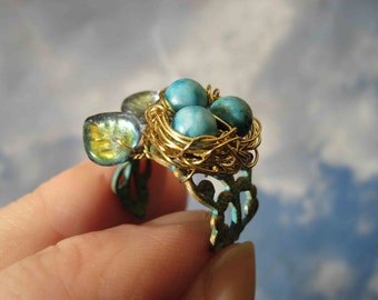 Enchanted Woodland Birdnest on Verdigris Filigree adjustable ring
