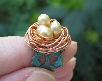 Enchanted Woodland Creams Birdnest on Verdigris Filigree adjustable ring