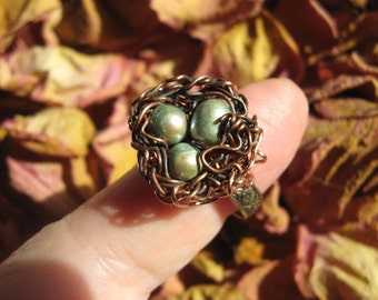 Woodland Moss Pearl Birdnest on floral brass adjustable ring