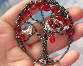Rustic Enchanted Valentine Tree of life Pendant version two
