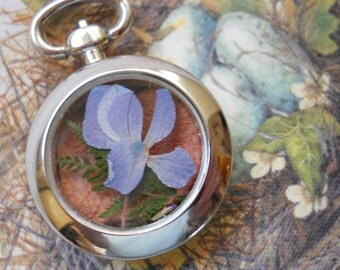 Woodland Fern and Flower Art pocket watch comes with sari ribbon,
