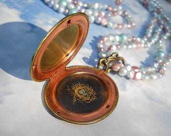 Woodland Ferns engraved art on Verdigris brass locket  w/pearls necklace