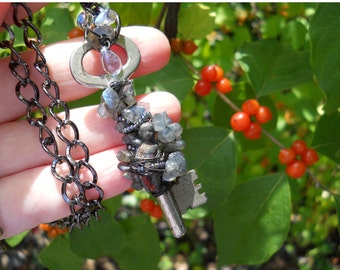 Fairy Magic Labradorite  Skeleton key necklace with raku charlotte magical