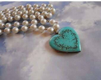Romantic Verdigris Engraved locket on vintage pearls or brass chain valentine gift heart locket