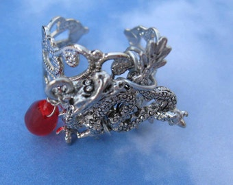 Mystical Enchanted Woodland Dragon on filigree adjustable ring dragon blood