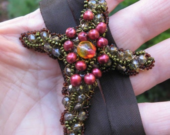Jeweled Wire Wrapped Cross on ribbon