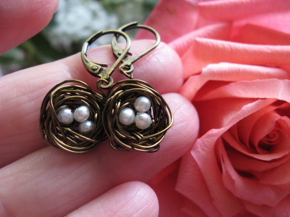 Mini Bronze Woodland Magic Birdnest Earrings with white pearl eggs
