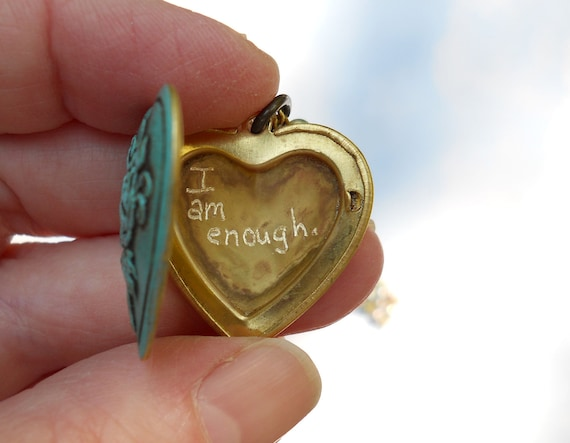 I am enough..  quote locket on vintage pearls necklace