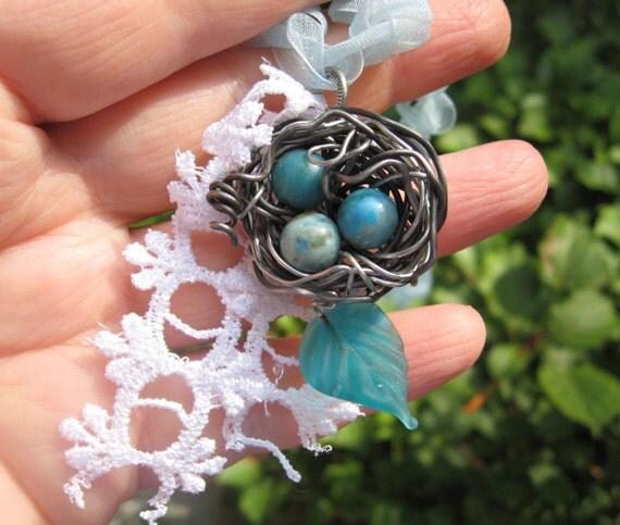 Enchanted Shabby Chic Woodland Birdnest necklace on organza chain