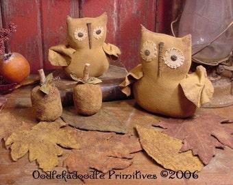 Primitive Harvest Olde Barn Owls Pumpkins Fall Leaves Instant Digital Download E Pattern  ET