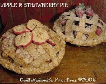 Primitive Apple & Strawberry Pie Table Topper Instant Digital Download E-Pattern  ET
