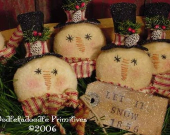 Primitive Christmas Snowmen Ornie  Bowl Filler Tuck Instant Digital Download E-Pattern  ET