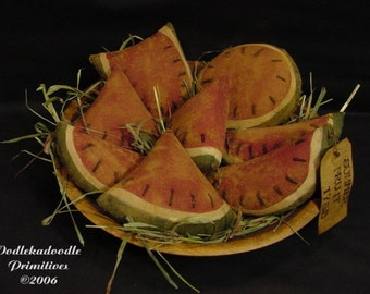 Primitive Watermelon Slices Summer Bowl Filler Cupboard Tucks Instant Digital Download  E Pattern  ET
