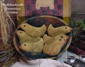 Primitive Baby Chicks Cupboard Tucks Easter Bowl Filler Spring Ornies E Pattern  ET