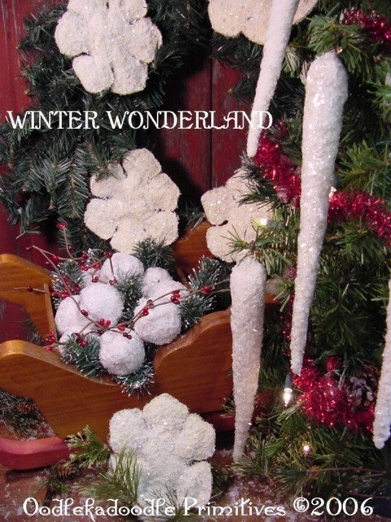 Primitive Christmas Snowball, Snowflake, Icicle Instant Digital Download E-Pattern ET