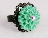 Ring Turquoise Flower Black Filigree Adjustable Band Costume Jewelry Gifts for Her Girl Under 15