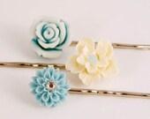 Hair Accessories, Blue Cream Flower Hair Pins,  Cherry Blossom Garden Gifts for Her Girl Under 15
