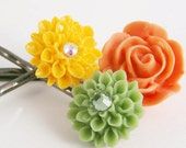 Bobby Pins Flowers Green Yellow Orange Rose Set of 3 Hair Accessory for Summer Beach Girl Her Sister