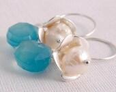 Dangle Earrings  Beach Inspired Earrings Ocean Blue Pearl Dangles l Jewelry Accessories for Her