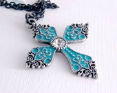 Cross Necklace,  Turquoise Silver Crystal Cross Pendant, Victorian Filigree Jewelry Gifts for Her