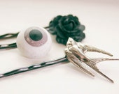 Hair Pins Eyeball Sparrow Black Rose Gothic Set of 3 Accessory Gift for Girl Her Under 20