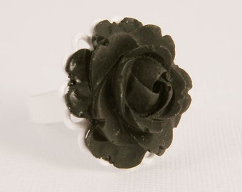 Adjustable Ring Black Rose White Filigree Hand Accessory Gifts for Girl Her