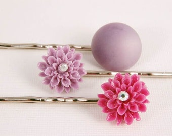 Bobby Pins Flower Hair Pins Purple Lilac Accessories Jewelry Gifts for Her Under 15