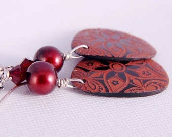 Pearl Dangle Earrings, Shell Teardrops, Burgundy Tribal Boho Chic Jewelry Gifts for Her Under 25