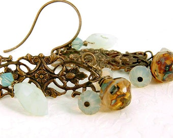 Acorn Earrings, Blue Opal Brass Dangles, Statement Dangles Jewelry Gifts for Her