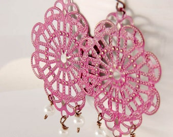 Chandelier Earrings, Brass Indian Style Filigree Pink Jewelry Accessories Gifts Her Under 25