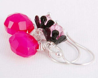 Dangle Earrings Hot Pink Chalcedony, Black Daisy Sterling Silver Handmade Jewelry Accessories Gifts for Her