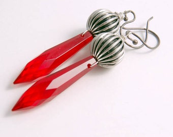 Red Statement Earrings, Long Dangles, Vintage Red Dagger Earrings Vintage Costume Jewelry Gifts for Her Women Under 20