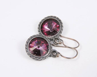 Dangle Earrings Pink Swarovski Crystal Earrings, Antique Gunmetal Jewelry Gift for Her Under 25