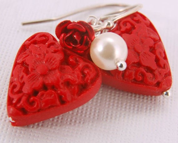 Red Heart Dangle Earrings, Roses Pearls Sterling Silver Jewelry Gifts for Her Under 25