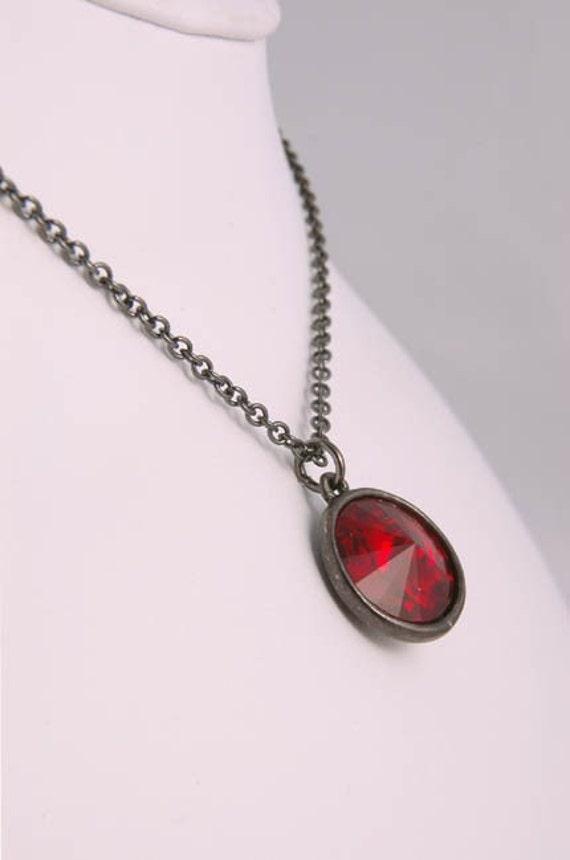 Necklace Red Swarovski Crystal Black Gunmetal Gothic Gift for Her Under 25