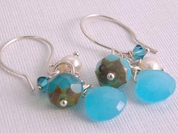 Blue Pearl Earrings Sterling Silver Summer Beach Wedding Gift for Girl Her Under 25