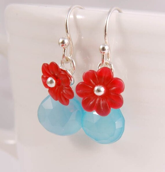 RESERVED - Turquoise Red Flower Earrings