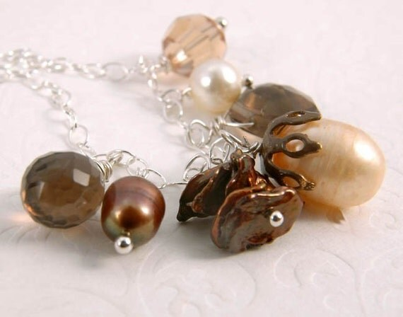 Necklace - Smokey Stones, Pearls, Crystal Sterling Silver Fall Charm Accessory