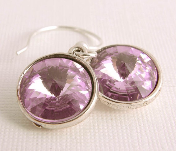 Dangle Earrings, Lilac Swarovski Crystal Dangles, Sterling Silver Modern Pastel Jewelry Gift for Her Under 20