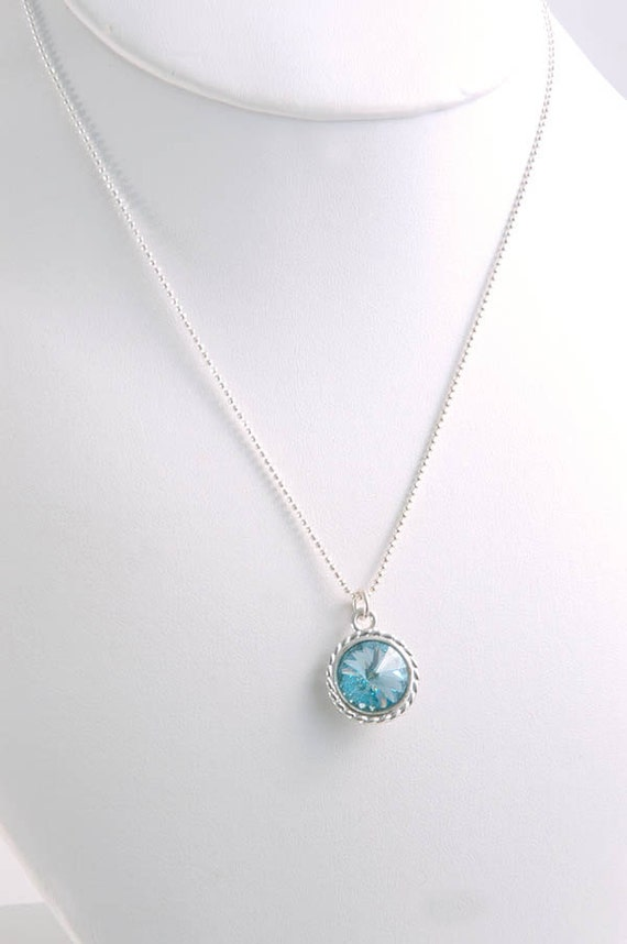 Necklace Aquamarine Blue Swarovski Crystal Sterling Silver Modern Jewellery Gift for Her Under 25