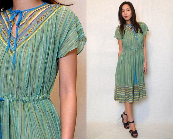 Vintage Green Multicolor Ethnic Pinstripe Print Cap Sleeve Sundress 1970s