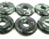 6 Chinese Writing Stone Gemstone Donuts - 20mm