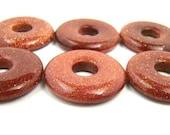 6 Brown Goldstone Gemstone Donuts - 20mm