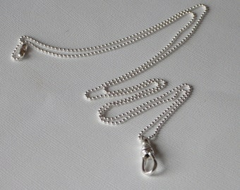 SAM Sterling Silver Ball Chain Lanyard Name Badge ID Holder with Swivel Clip