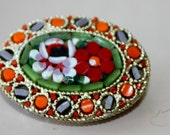 Vintage Oval Micromosaic Stone Pin  Emerald Green Orange Tangarine Purple Red