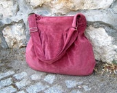 Perry in Terra Cotta Pink -corduroy velvet- --adjustable strap and ZIPPERED CLOSURE everyday purse--