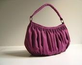 Canvas Pleated Bag / Shoulder Bag / BELLA IN PURPLE / Large /  Drapery / Chic / Elegant / Everyday Purse / Zipper Closure / weekender bag